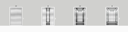 metal doors: Set open and closed chrome metal office building elevator doors realistic 3d illustration Stock Photo