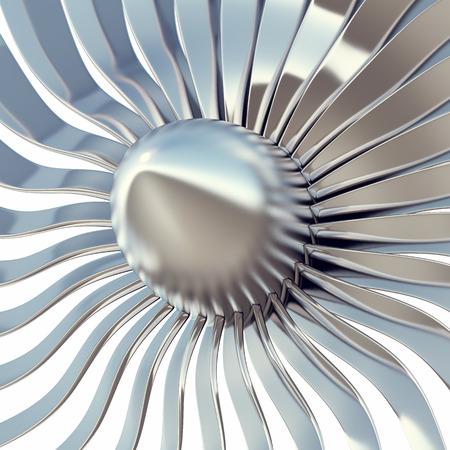 Turbo jet engine blades close-up, 3d illustration Stock Photo