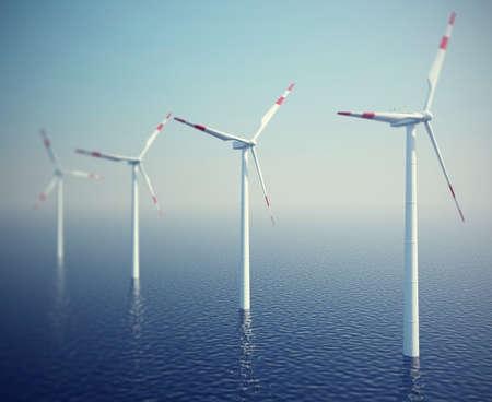 turbines: Wind turbines in the ocean, 3d illustration high resolution