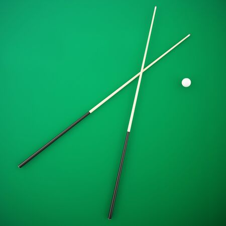cue: Crossed with a white cue ball on a green billiard table. 3d illustration