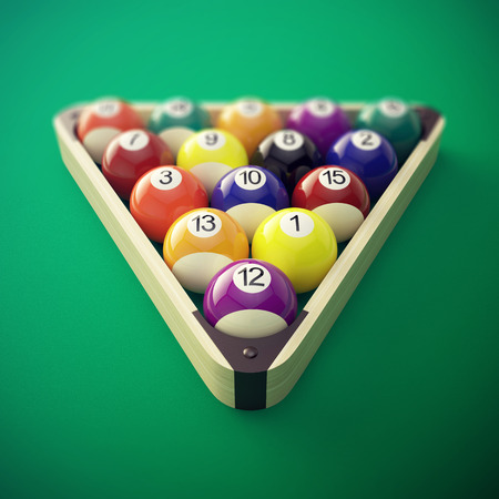 Pool billiard balls in a wooden rack. 3d illustration