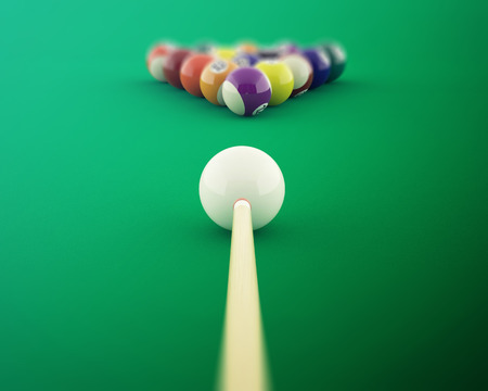 cue: Billiard balls on the green baize of a billiard table, shot of cue ball. 3d illustration