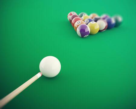 Boules de billard avant de frapper sur une table de billard vert. 3d illustration haute résolution Banque d'images