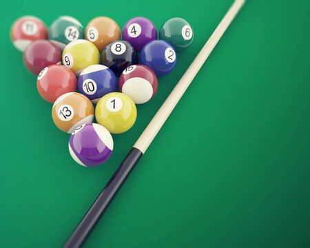 billiards room: Billiard balls on the green table, with cue. 3d illustration Stock Photo
