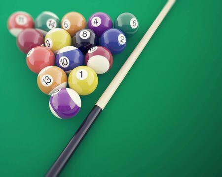 Boules de billard sur la table verte, avec cue. 3d illustration
