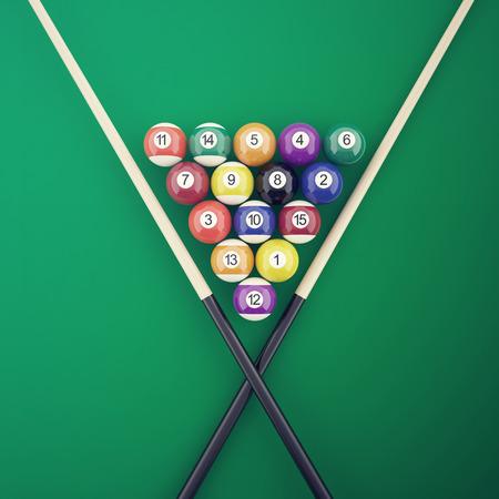 Billiard elements on a green table. 3d illustration Stock Photo