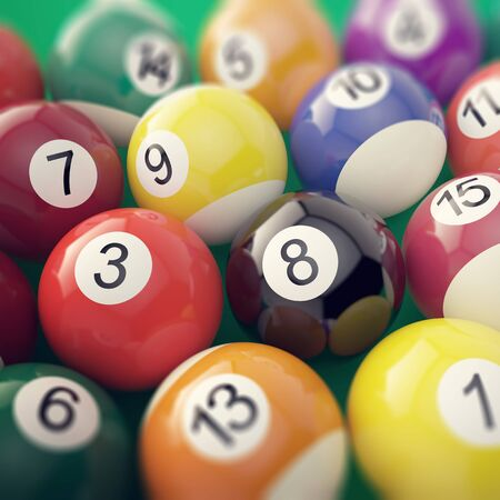 pool game: Group colorful glossy billiard pool game balls with depth of field effect. 3d illustration