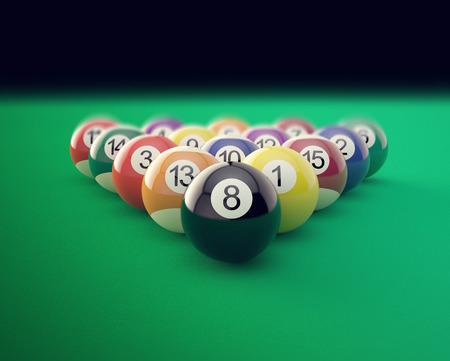 Group of shiny billiard balls with soft edges. 3d illustration