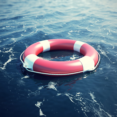bleak: Lifebuoy in the sea, the ocean with focus effect. 3d illustration
