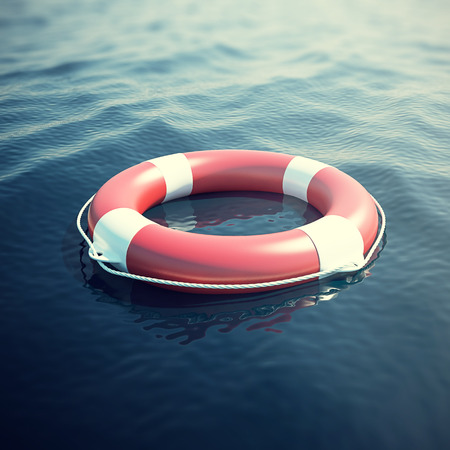 Lifebuoy in the sea, the ocean. 3d illustration