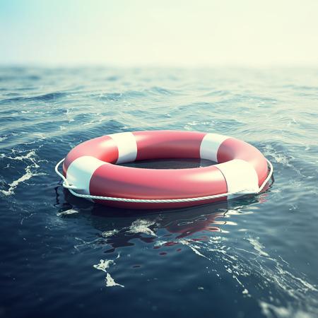 海に浮かぶ赤い救命浮輪。3 d イラストレーション