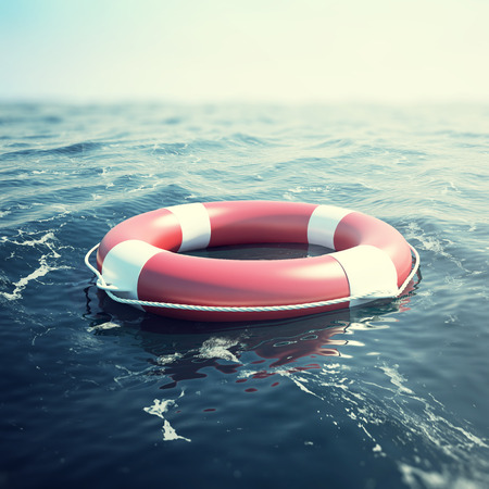 Red lifebuoy floating in the sea. 3d illustration