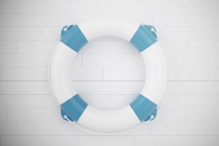 Blue Lifebuoy on white wooden wall. 3d illustration