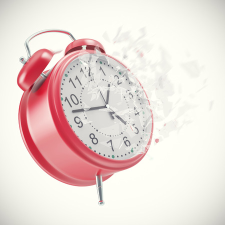 Soaring Clock alarm clock with broken glass shattered into small pieces. 3d illustration High resolution