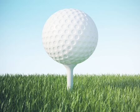 golfball: Golf ball on the green lawn, on blue sky. 3d illustration High resolution