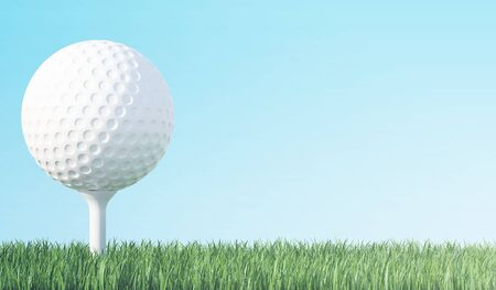 Golf ball on green grass ready to be shot, blue sky background, 3d illustration Standard-Bild
