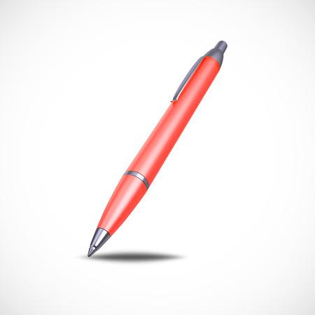 ballpoint: Red Ballpoint Pen isolated on white background, 3d illustration