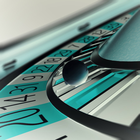 stake: Playing casino roulette, concept casino gambling, wheel of fortune. Depth of field in the ball, 3d illustration