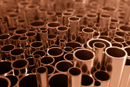 steel industry: Industry business production and heavy metallurgical industrial products, many shiny steel pipes, industrial background, manufacturing business production concept, copper pipes with selective focus effect, 3D illustration Stock Photo