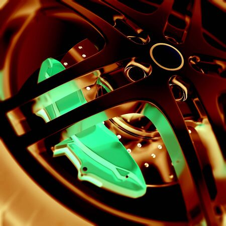 car brake: Car wheel close-up view with focus and photo negative effects, 3d illustration