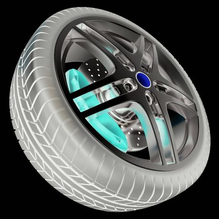 Car wheel isolated on balck background with photo negative effect, 3d illustration Stock Photo