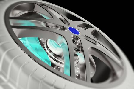 Car wheel close-up view with focus and photo negative effects, 3d illustration