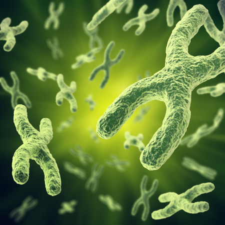Chromosome with focus effect, human medical symbol for gene therapy or microbiology genetics research. 3d illustration