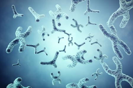 XY-Chromosomen auf grauem Hintergrund, wissenschaftliche und biologische Konzept mit Tiefenschärfeffekt. 3d darstellung Standard-Bild