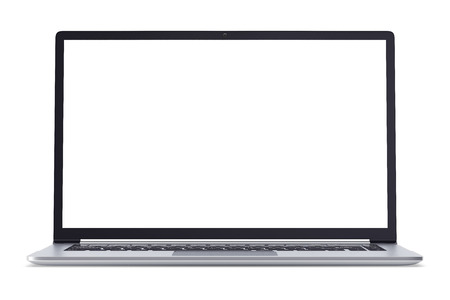 data processor: Modern metal office laptop or silver business notebook with blank screen isolated on white background. 3d illustration