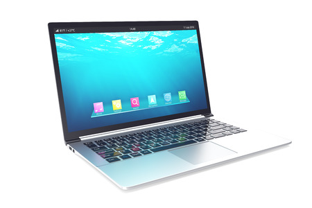 data processor: Opened notebook with blue underwater wallpapers isolated on white background. 3d illustration.