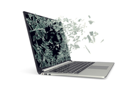 lcd: Modern metal laptop with broken screen isolated on white background. 3d illustration.