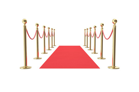 Red velvet carpet in studio with gold barrier. 3d illustration. Stock Photo