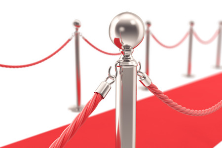 Red Carpet fence pole with attached red ropes. Closeup, shallow focus. 3d illustration.