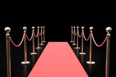 Red carpet between two rope barriers on black background. 3d illustration.