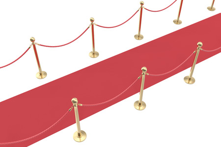 velvet rope barrier: Red velvet carpet and rope barrier. 3d illustration on white background Stock Photo
