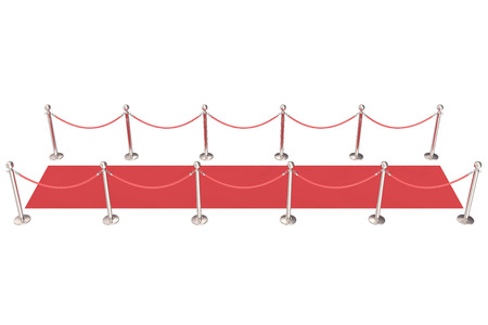 velvet rope barrier: Silver stanchions and a red velvet carpet. 3d illustration. Stock Photo