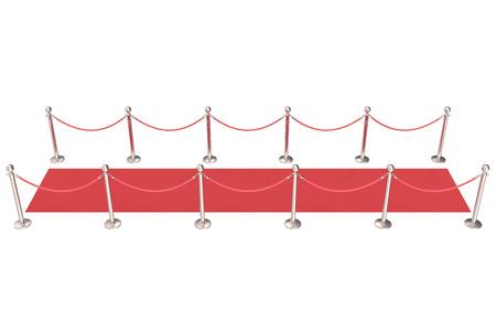 red velvet: Silver stanchions and a red velvet carpet. 3d illustration. Stock Photo