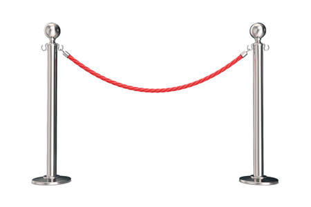 velvet rope: Silver barrier with red rope. 3d illustration isolated on white.