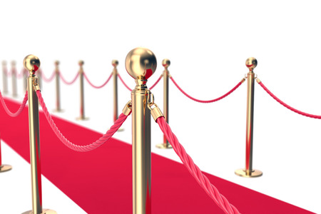 Red Carpet fence pole with ropes. Depth of field effect. 3d illustration.