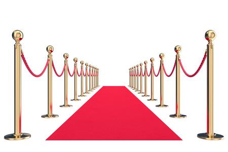 red velvet: Red velvet carpet in studio with gold barrier. 3d illustration. Stock Photo
