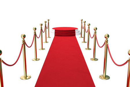 Red carpet with golden barrier and ropes. Stairway to speak. 3d illustration. Stock Photo