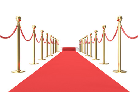 stanchion: Red carpet with golden barrier and ropes. Stairs in the end. 3d illustration.