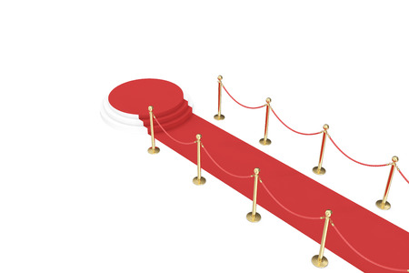 Red carpet with golden barrier and ropes. Stairs in the end. 3d illustration.