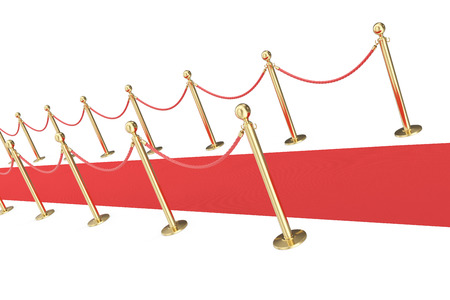 velvet rope barrier: red event carpet isolated on a white background with gold barrier. 3d illustration Stock Photo