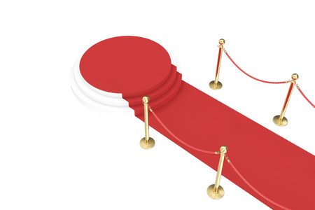 Red carpet with golden barrier and ropes. Stairway to speak. 3d illustration
