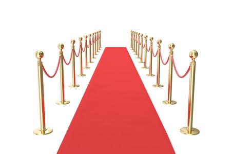 red barrier velvet: Red velvet carpet in studio with gold barrier. 3d illustration. Stock Photo