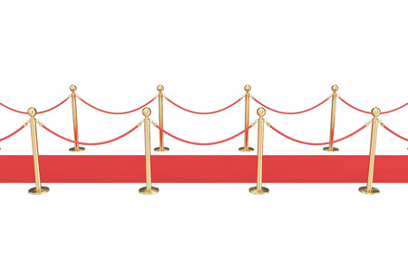 velvet rope barrier: Red carpet with gold barriers isolated on white, view side. 3d illustration.