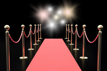 Red carpet between two rope barriers and flashlight on black background. 3d illustration.