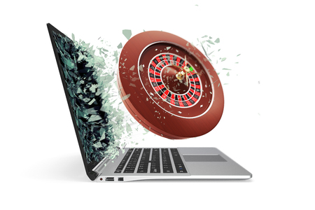 lucky break: The concept of online casinos, takes off from the laptop isolated on white background. 3d illustration.