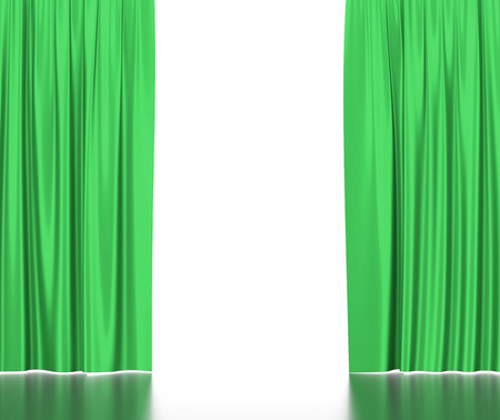 spotlit: Green silk curtains for theater and cinema spotlit light in the center. 3d illustration.